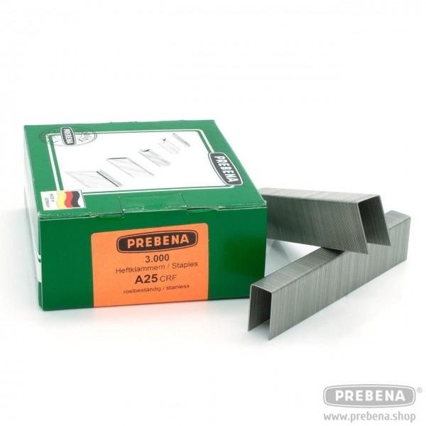 A25CRF Heftklammern rostfrei 25mm Länge
