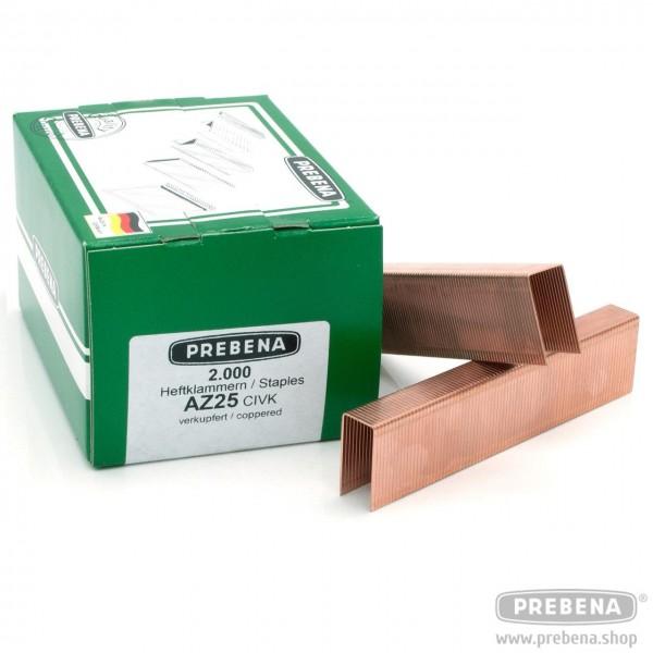 AZ25CIVK Heftklammern verkupfert 25mm Länge