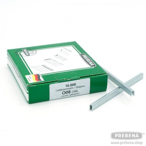 O08CNK Heftklammern verzinkt 8mm Länge