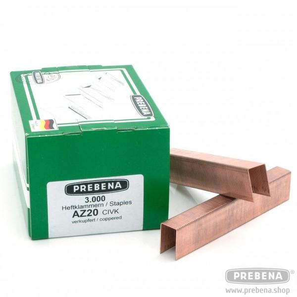 AZ20CIVK Heftklammern verkupfert 20mm Länge