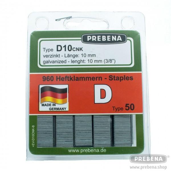 D10CNK-B Heftklammern im Blister verzinkt 10mm Länge