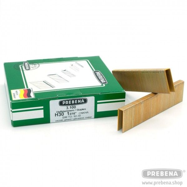 H30CNKHA Heftklammern verzinkt geharzt 30mm Länge