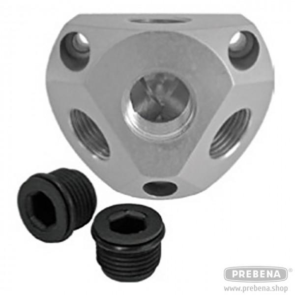 Luftverteilerdose Aluminium inkl. 2 Stopfen
