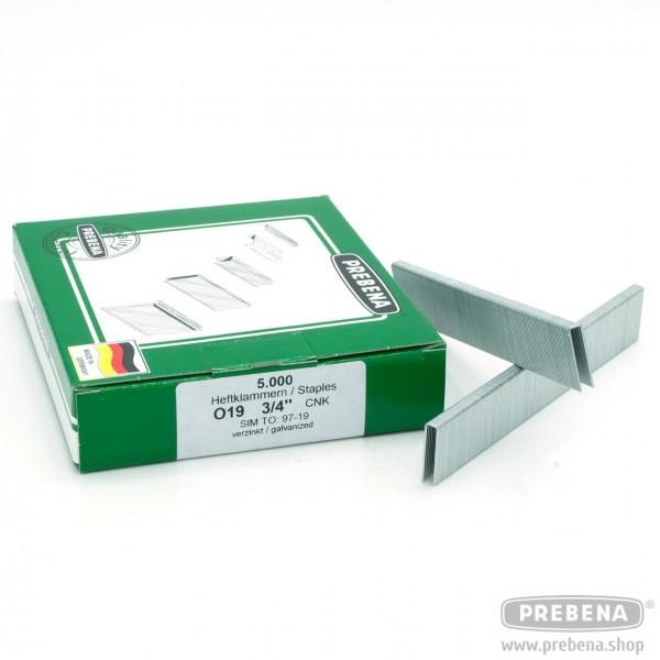 O19CNK Heftklammern verzinkt 19mm Länge