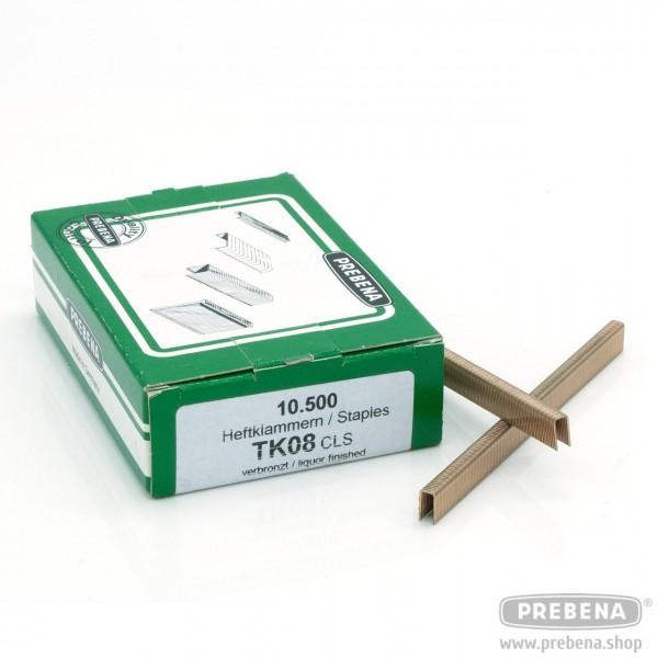 TK08CLS Heftklammern verbronzt 8mm Länge
