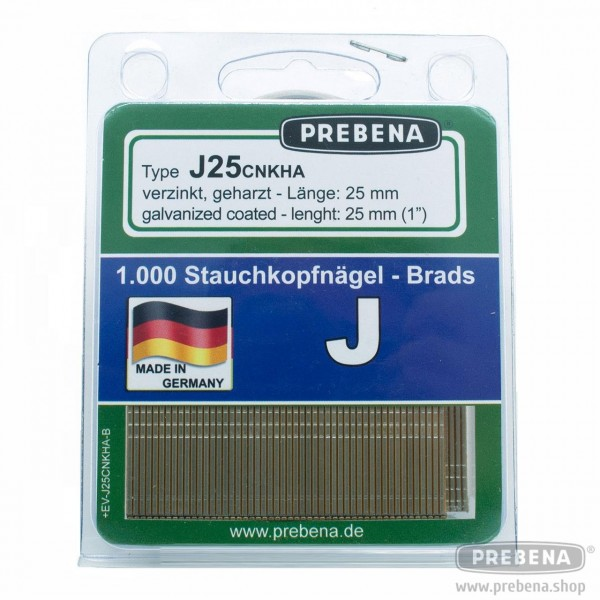 J25CNKHA-B Stauchkopfnägel (Brads) im Blister verzinkt geharzt 25mm Länge