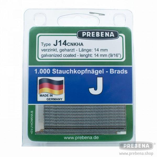 J14CNKHA-B Stauchkopfnägel (Brads) im Blister verzinkt geharzt 14mm Länge