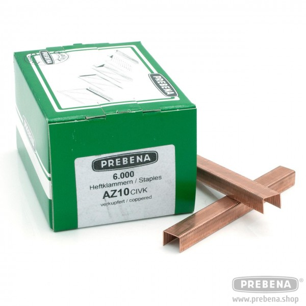 AZ10CIVK Heftklammern verkupfert 10mm Länge