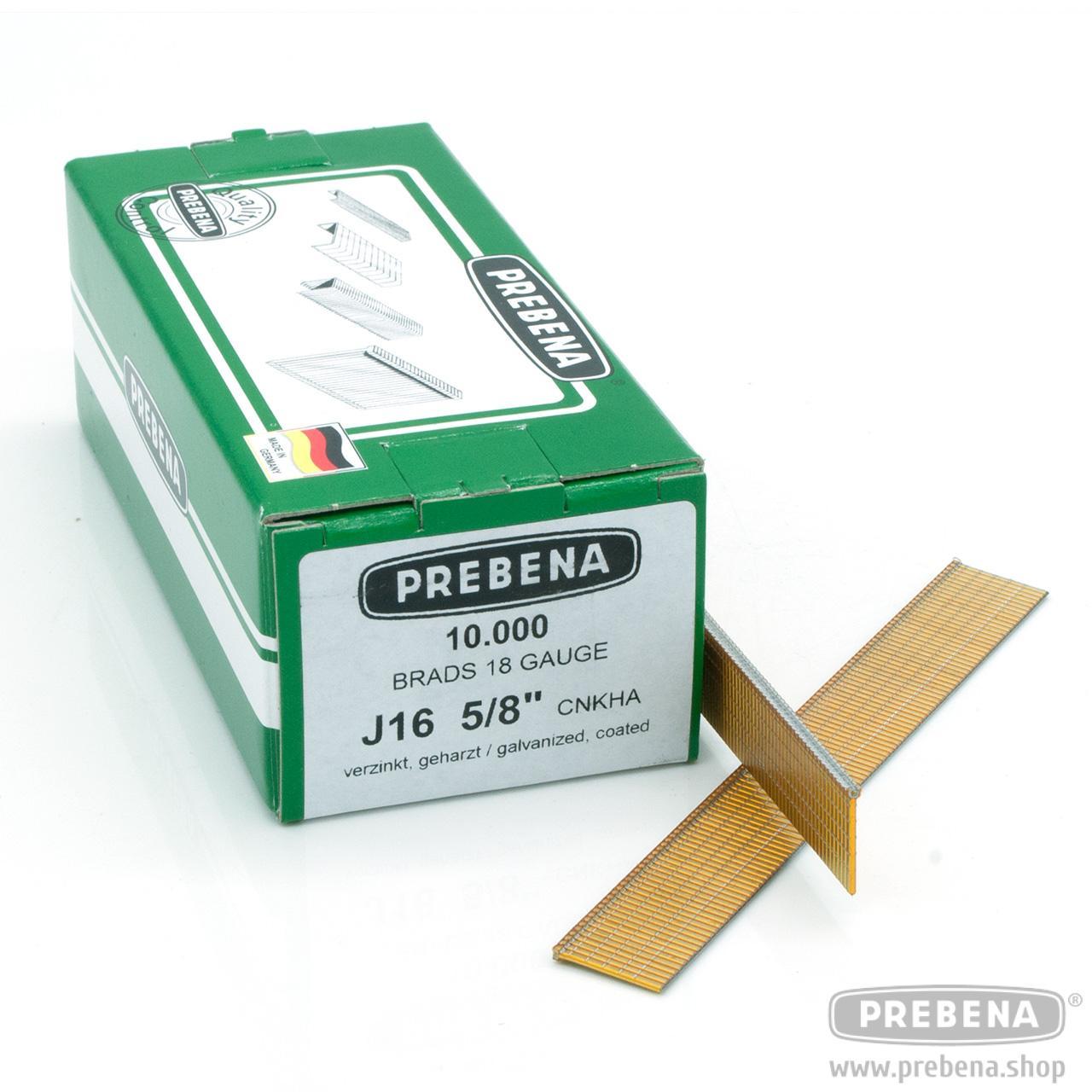 verzinkt Prebena Brads J-16CnkHa 10.000 Stück geharzt