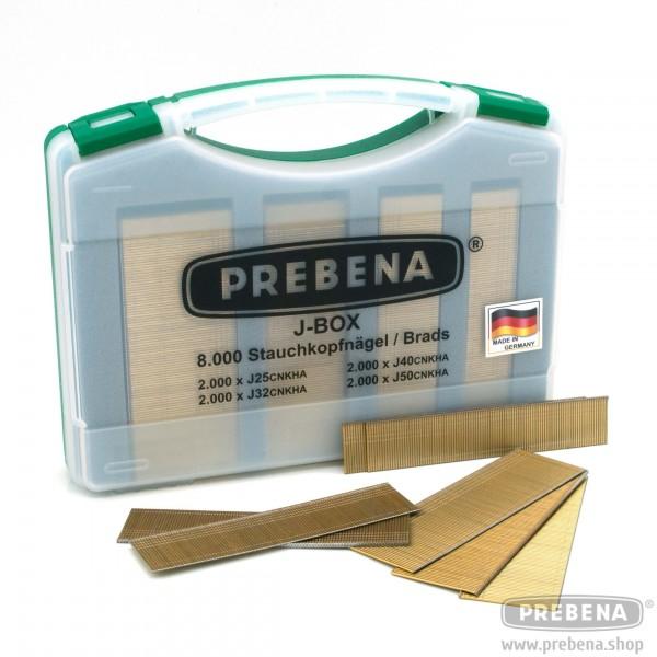 PREBENA Stauchkopfnägel Brads J-BOX verzinkt geharzt