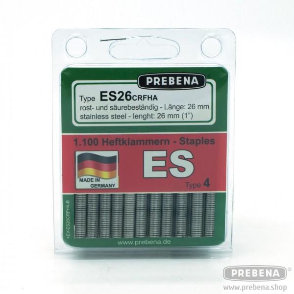 ES26CRFHA-B Heftklammern im Blister rost- & säurebeständig geharzt