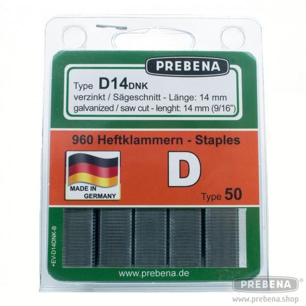 D14DNK-B Heftklammern im Blister verzinkt D-Spitze 14mm Länge