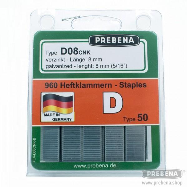 D08CNK-B Heftklammern im Blister verzinkt 8mm Länge