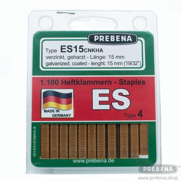 ES15CNKHA-B Heftklammern im Blister verzinkt geharzt 15mm Länge